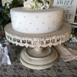 Cream Scalloped Cake Stand